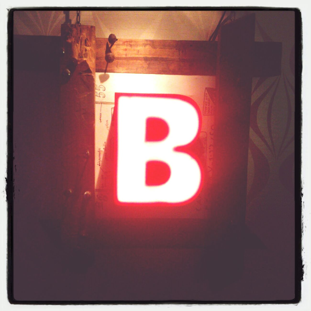 B Neon Lights Letters Tipography