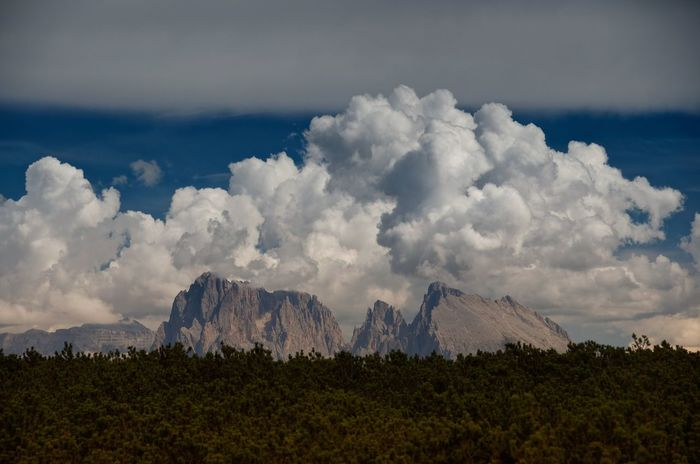 Another shot of the Sassolungo group, or Langkofel if you speak German, South Tyrol, Italian Dolomites Mountains Peak Summit Panorama Landscape Italy Dolomites, Italy Sassolungo Langkofel Geology Clouds And Sky Alps Nature Outdoors Horizon Travel Travel Photography