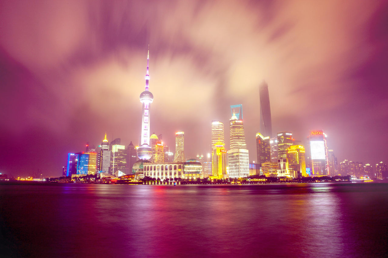Shanghai bund of the huangpu river Long Exposure Nightphotography Financialcentre