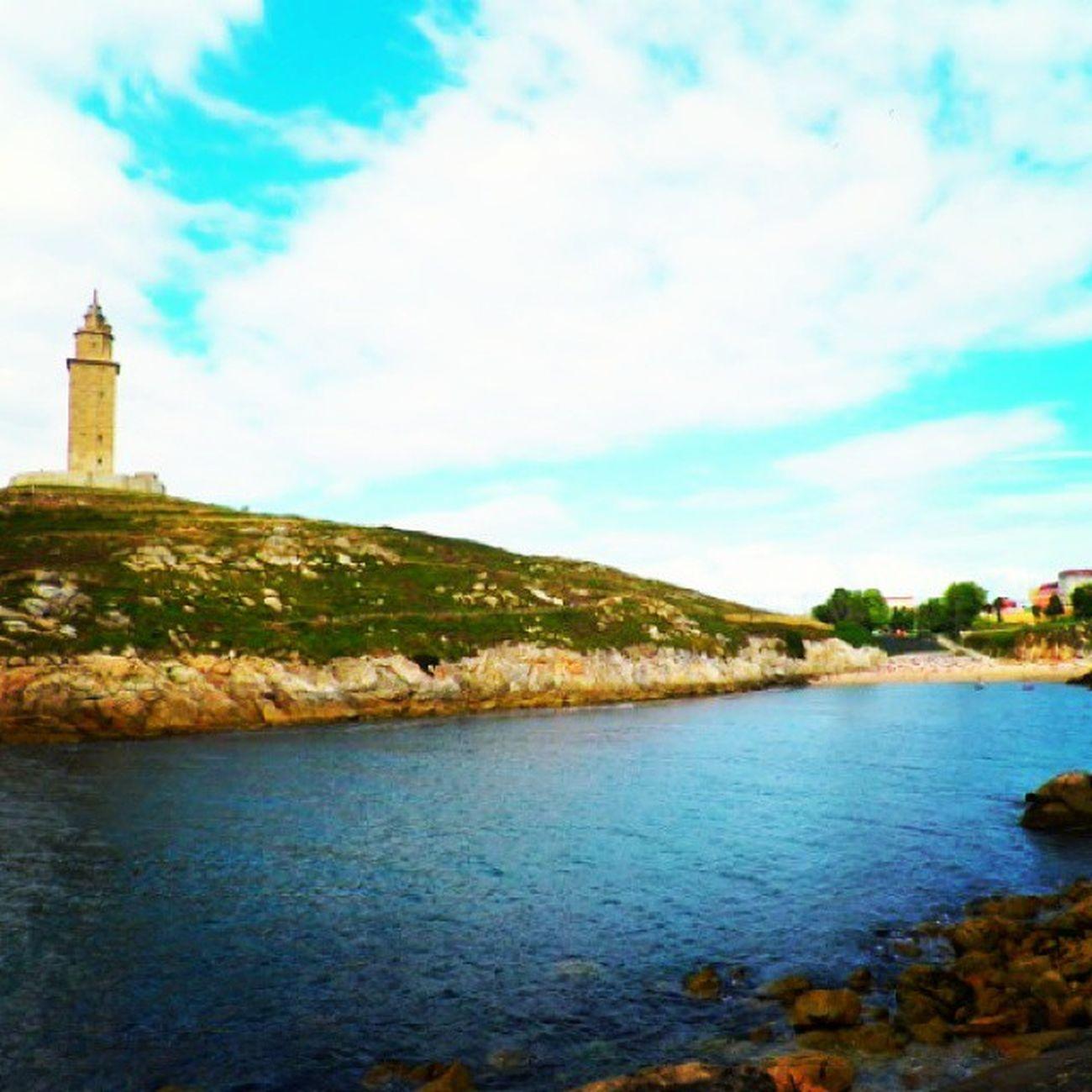 Coruña TorreDeHercules Playadelaconchas Mar aguafria nubes torre galicia tower galiciantower azul cielo sol