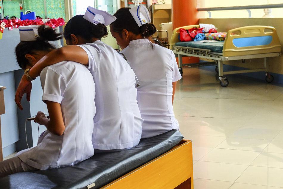 EyeEm Best Shots Eyeem Philippines Hospital Hospital Bed Indoors  Murs Nurses People People Watching Rear View Women At Work
