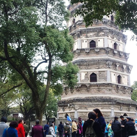 Large Group Of People Building Exterior Built Structure Architecture Outdoors Sky Crowd Enjoying Life Quality Time Spring 2017 Happy Life Sozhou Cloud - Sky Travel Travel Destinations Religion Pagoda History Architecture