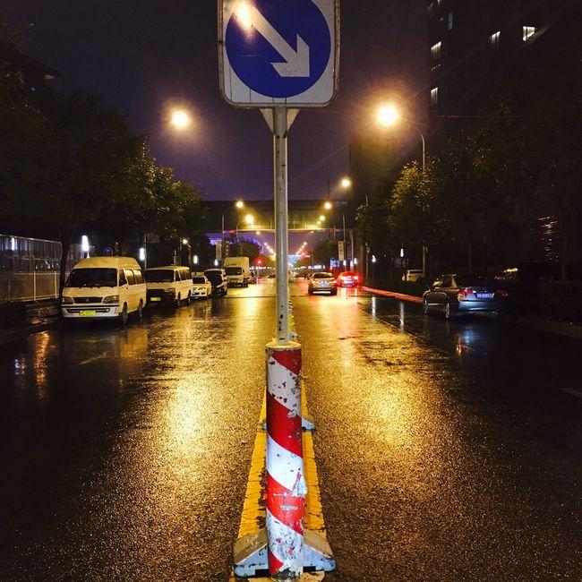 Transportation Reflection Illuminated Night Street Light Car No People Road Sign Communication Water Outdoors Architecture Sky 北京 街道 夜色