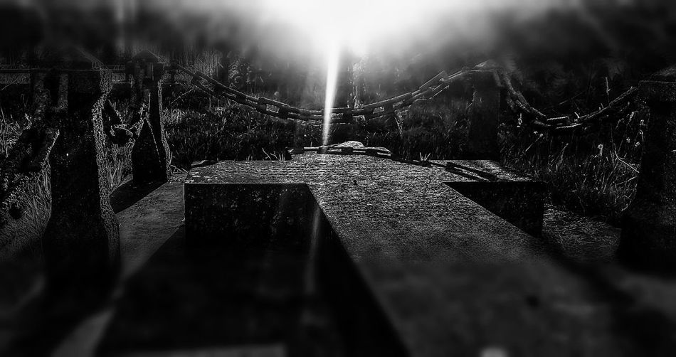 Edited Picture Black & White Gravestone Chainlink Fence Very Old Sunrays Reflection Graveyard Beauty Old Church Building @ St Pauls Church Aston