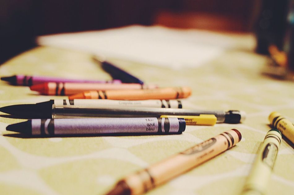 Close-up Indoors  No People Day Crayons Crayon Color Colors Artist Materials Painting Hobby Art On The Table Still Life Still Life Photography Paint Coloring Coloring Pencils