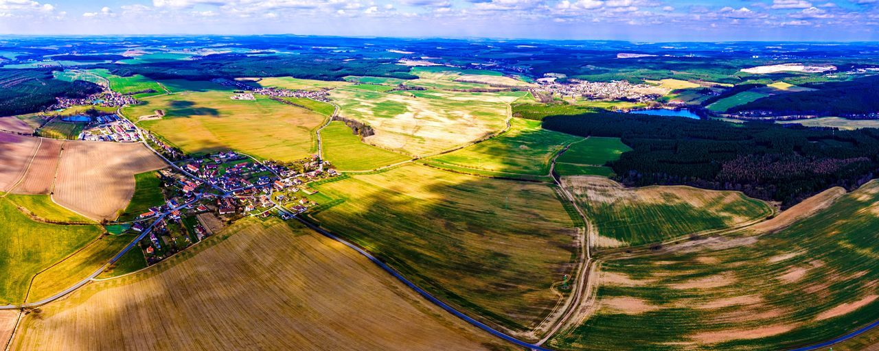 aerial view, landscape, road, rural scene, agriculture, scenics, transportation, cloud - sky, patchwork landscape, outdoors, beauty in nature, nature, flying, sky, day, tree, hot air balloon, no people