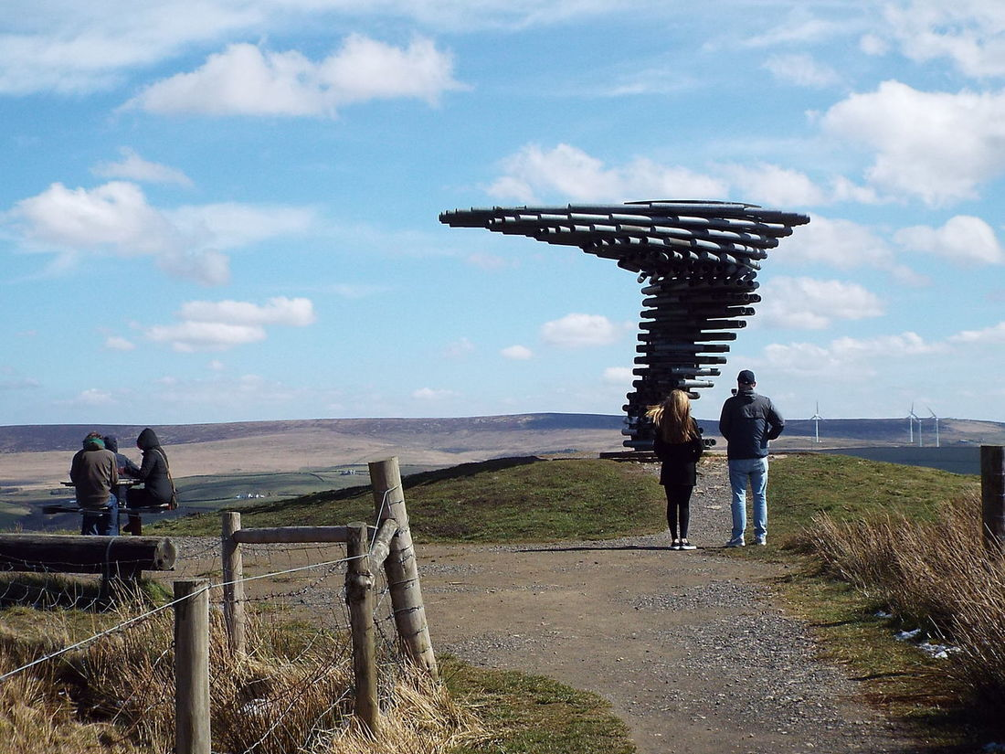 Pipes Tubes Landmark Pennines Pennine Moors Windy Windy Day Wind Turbines Green Power Going Green Blue Wave