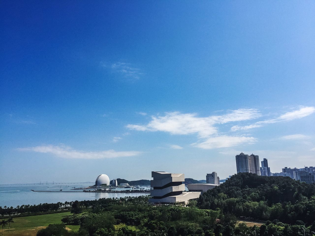 Architecture Building Exterior Built Structure City Sky Blue Travel Destinations No People Outdoors Cityscape Day Urban Skyline Nature Sea Shell Shell Zhuhai Museum Zhuhai Opera Zhuhai Opéra