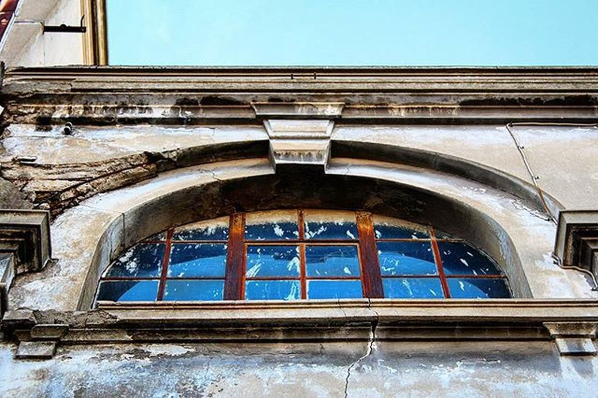 Window Architecture Old Renovation Building Details Concrete Metal Glass Iron Beautiful Sky Blue Downtown City center Street photography Photography Canon700D Thessaloniki Greece Skg