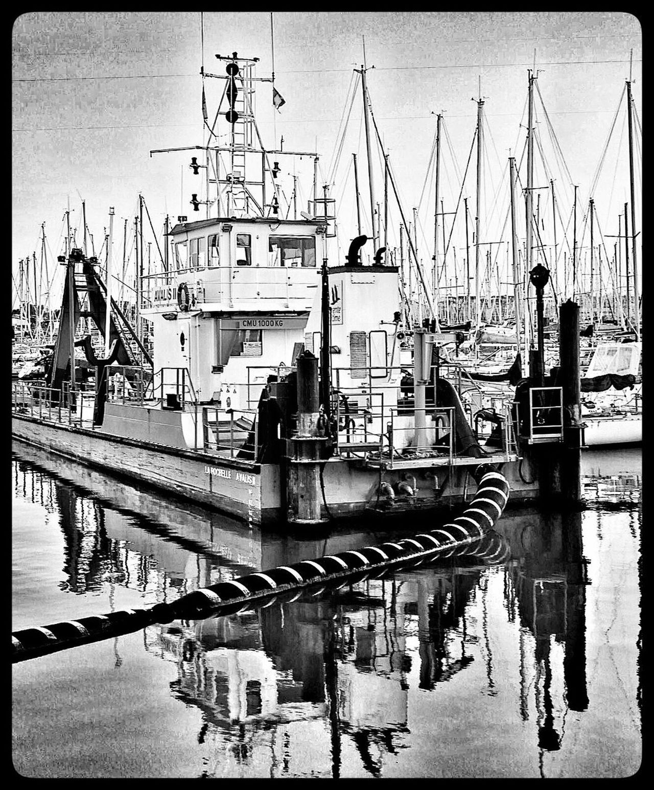 Nautical Vessel Moored Transportation Harbor Reflection Mode Of Transport Mast Water Commercial Dock Pier Sky No People Tall Ship Outdoors Trawler Day Industry Dock Port Yacht Blackandwhite Reflections