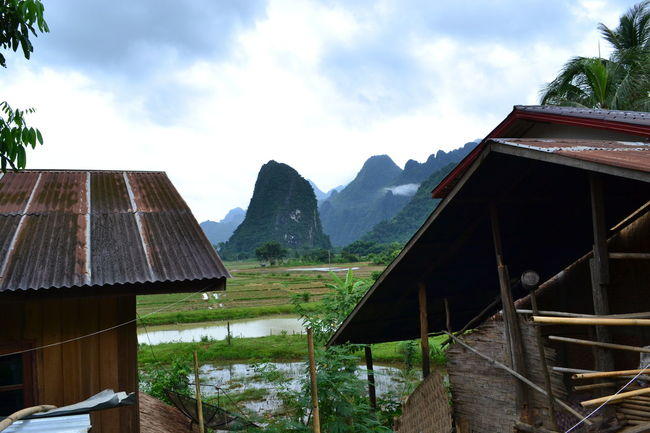 Architecture ASIA Bagpacker Built Structure House Landscape Laos Mountain Mountain Range Mountains Outdoors Rainforest Residential Structure River Tranquil Scene Vang Vieng Vangvieng