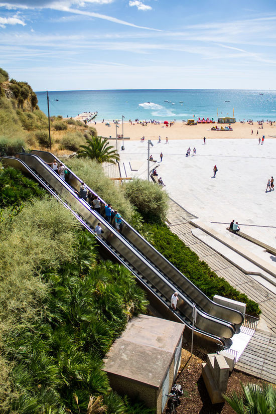 Albufeira Algarve Beach Escada Rolante  Escalator Escalera Mecanica High Angle View Horizon Over Water Large Group Of People Mar Meer Outdoors Playa Portugal Praia Rolltreppe Sand Sea Sky Strand Water