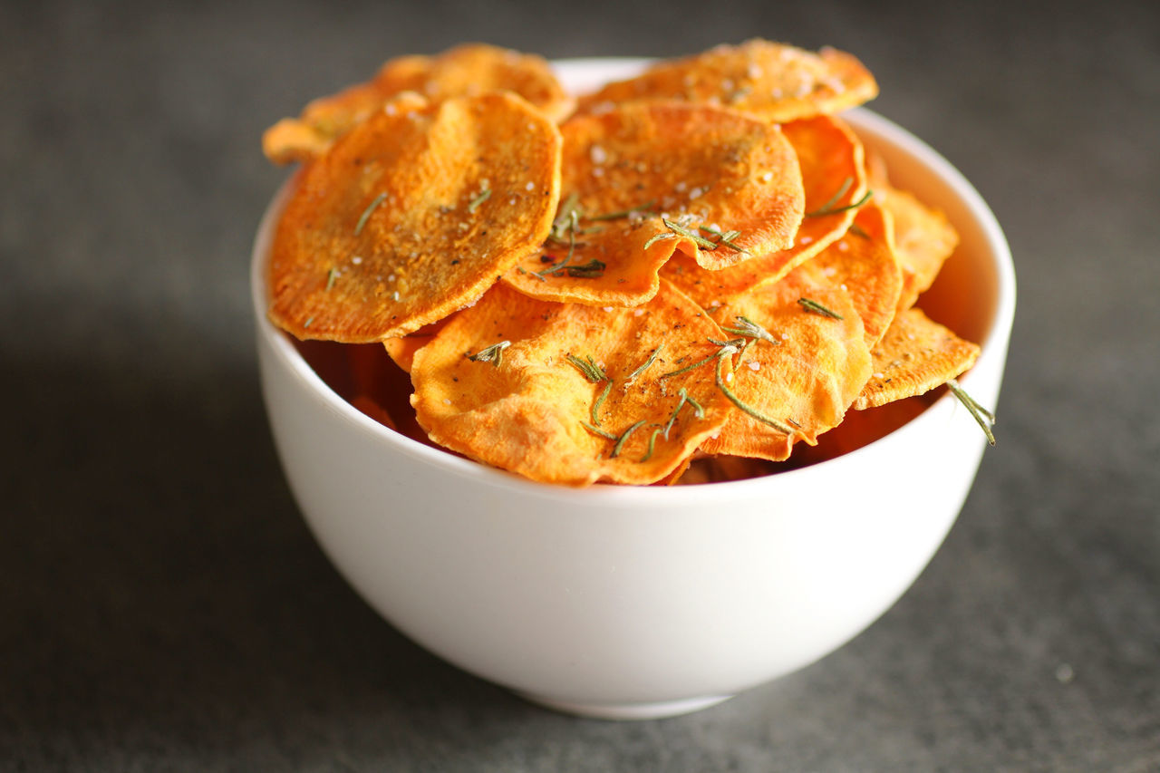 High Angle View Of Potato Chips In Bowl