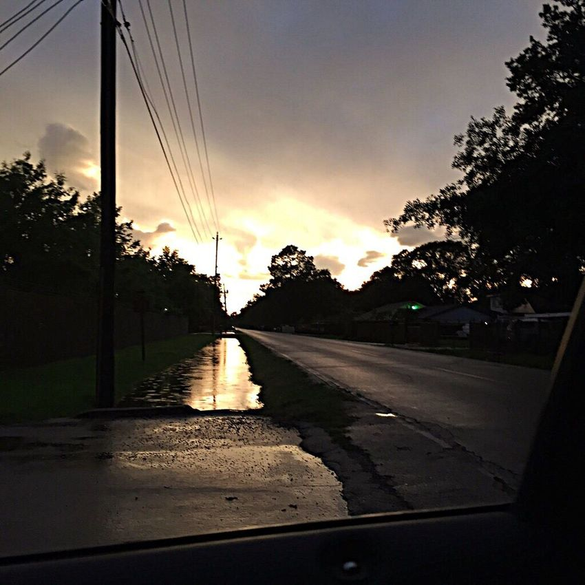 After the storm ⛈ Sunset Road Tree The Way Forward Sky Transportation Car Silhouette No People Outdoors Nature Electricity Pylon Day Eyemphotography EyeEm Best Shots EyeEmVision 1 Scenics