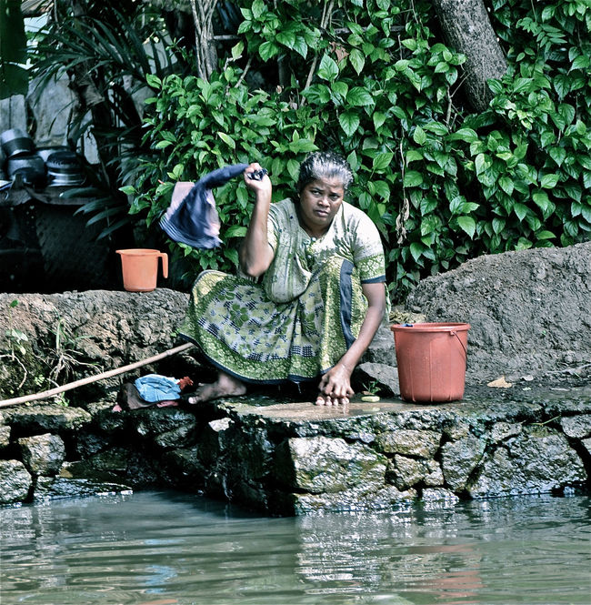 Backwaters India Indian Woman Kerala Laundry Person Traditional Woman