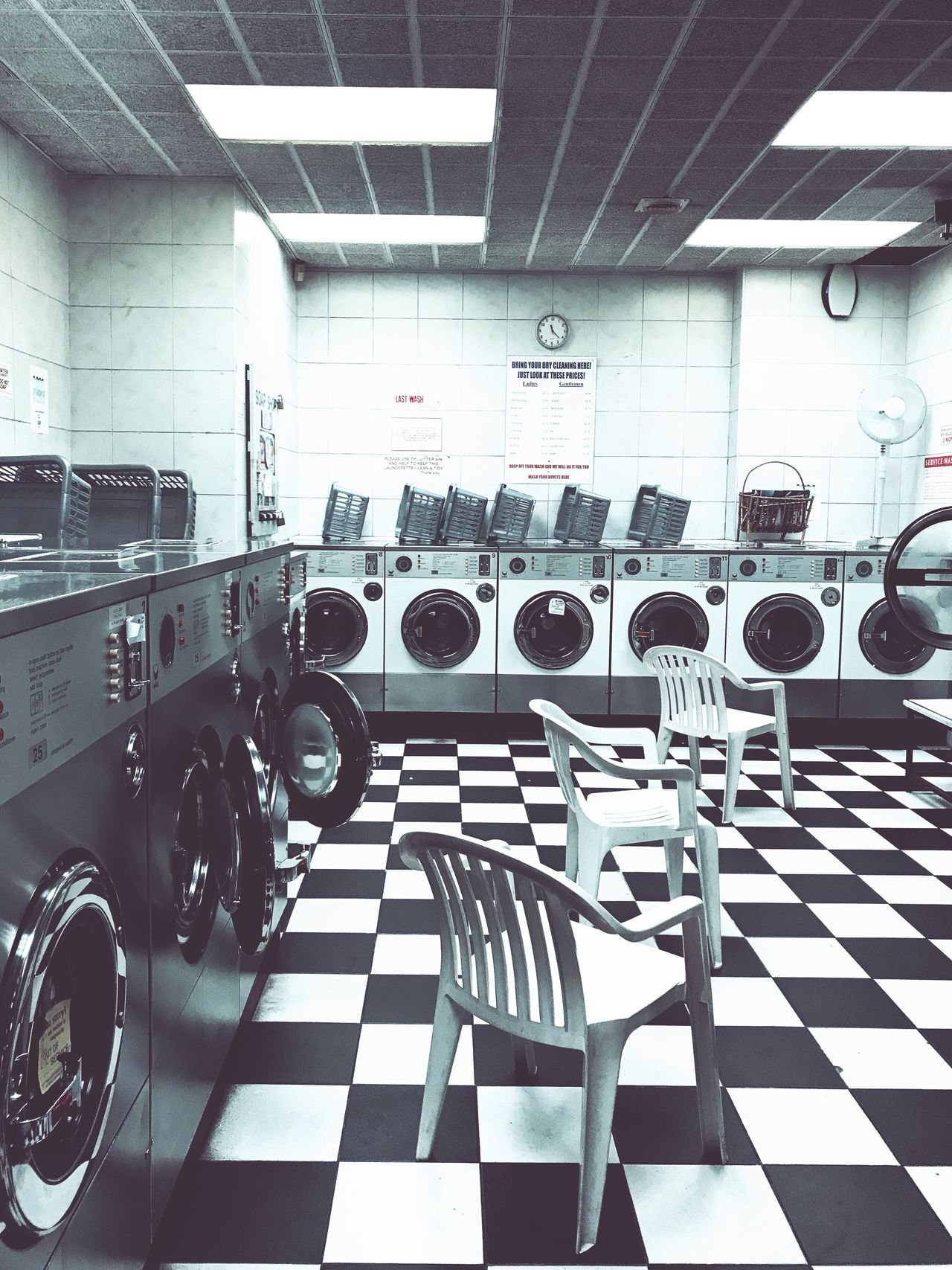 Indoors  In A Row Large Group Of Objects No People Washing Machine Retro Faded London Laundry Laundromat Day