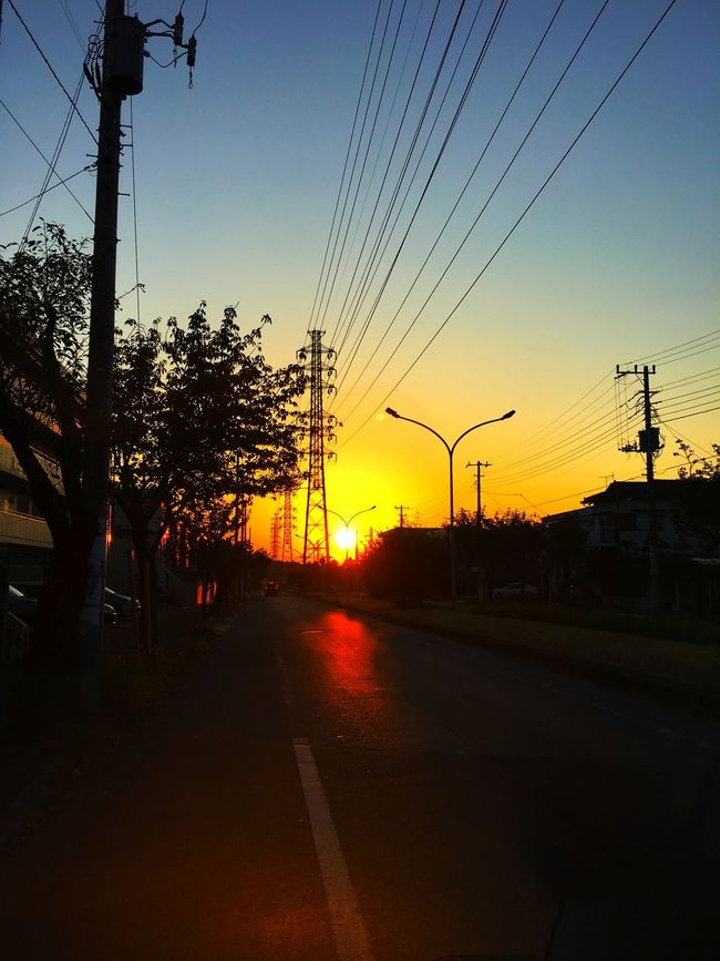 昨日の柏での夕暮れ。 Steel Tower  Sunset Orenge Sky Chiba Kashiwa Hello World