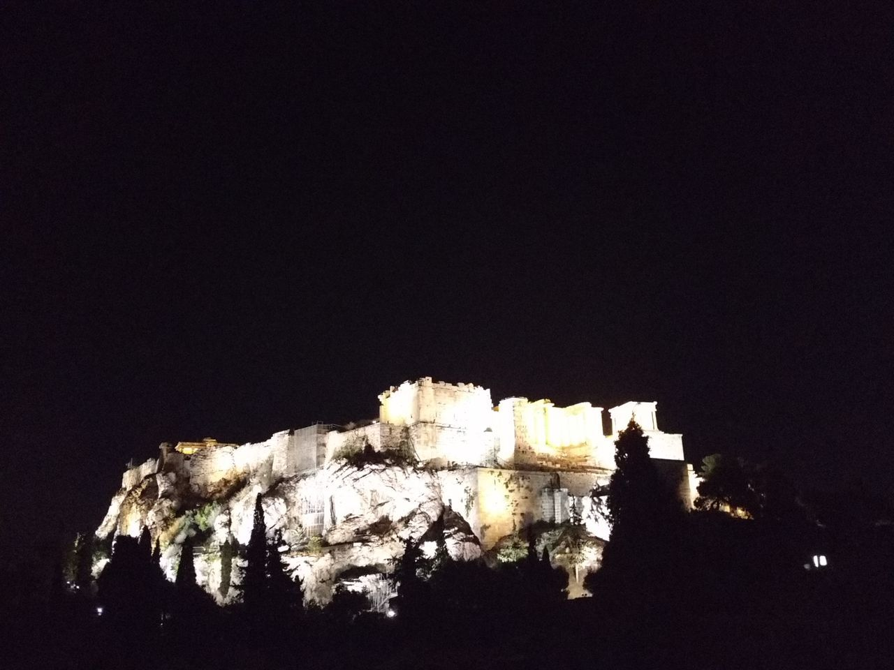 Low Angle View Architecture Built Structure Dark Night High Section Darkness Historic No People History Acropolis, Athens Temple Architecture Beautiful Energy Place