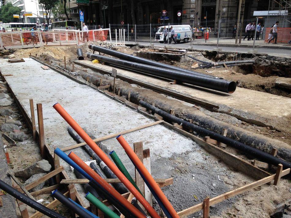 Obras do Veículo Leve Sobre Trilhos Vlt Avenida Rio Branco Rio De Janeiro Transporte Obra