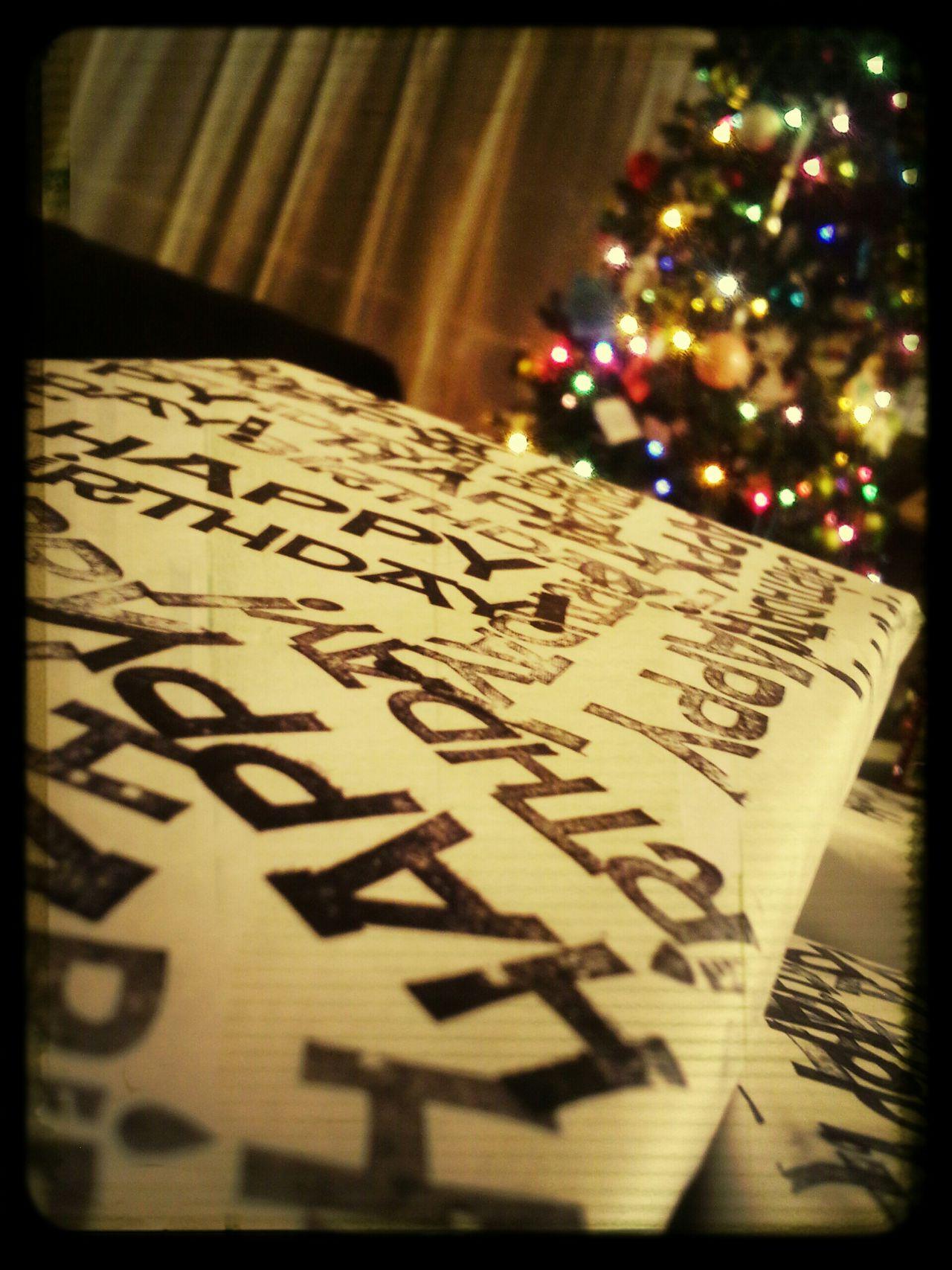 Birthday Present DIY Wrapping Paper Christmas Lights Christmas Tree