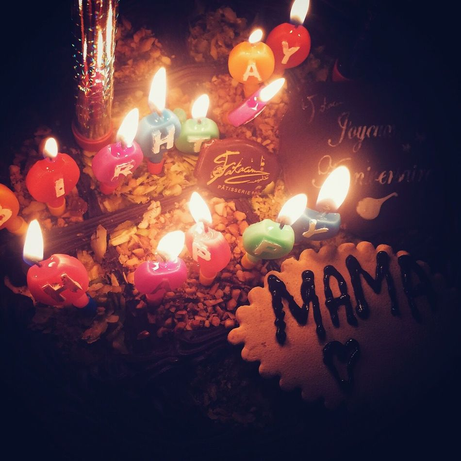 Happy Birthday Mom! 🎊🎉🎈 Flame Burning Glowing Illuminated Heat - Temperature Candle Celebration Sweet Food Close-up Unhealthy Eating Lit Indulgence Food And Drink Birthday Candles No People Dessert Temptation Night Birthday Cake Food Cake Cakes Cake♥ Candle