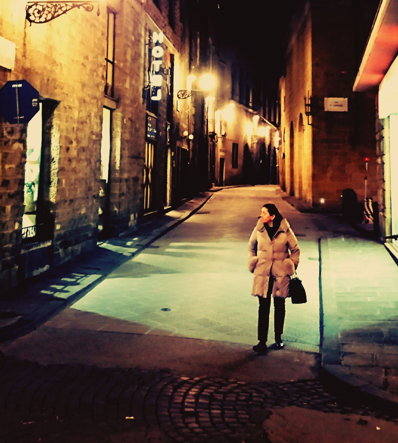 Street Walking Winter Quiet Alley At Night Illuminated City Cityscape