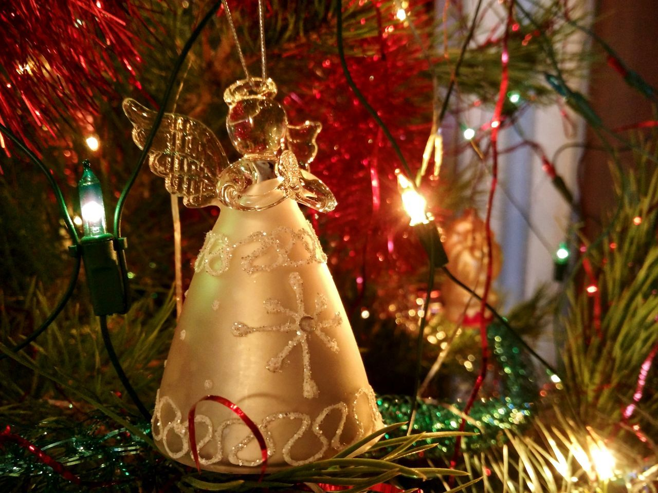 Christmas Christmas Tree Illuminated Christmas Decoration Christmas Lights Tree No People Christmas Ornament Winter Celebration Close-up Russia Happy New Year New Year Angel Angel Wings Angel Statuette First Eyeem Photo