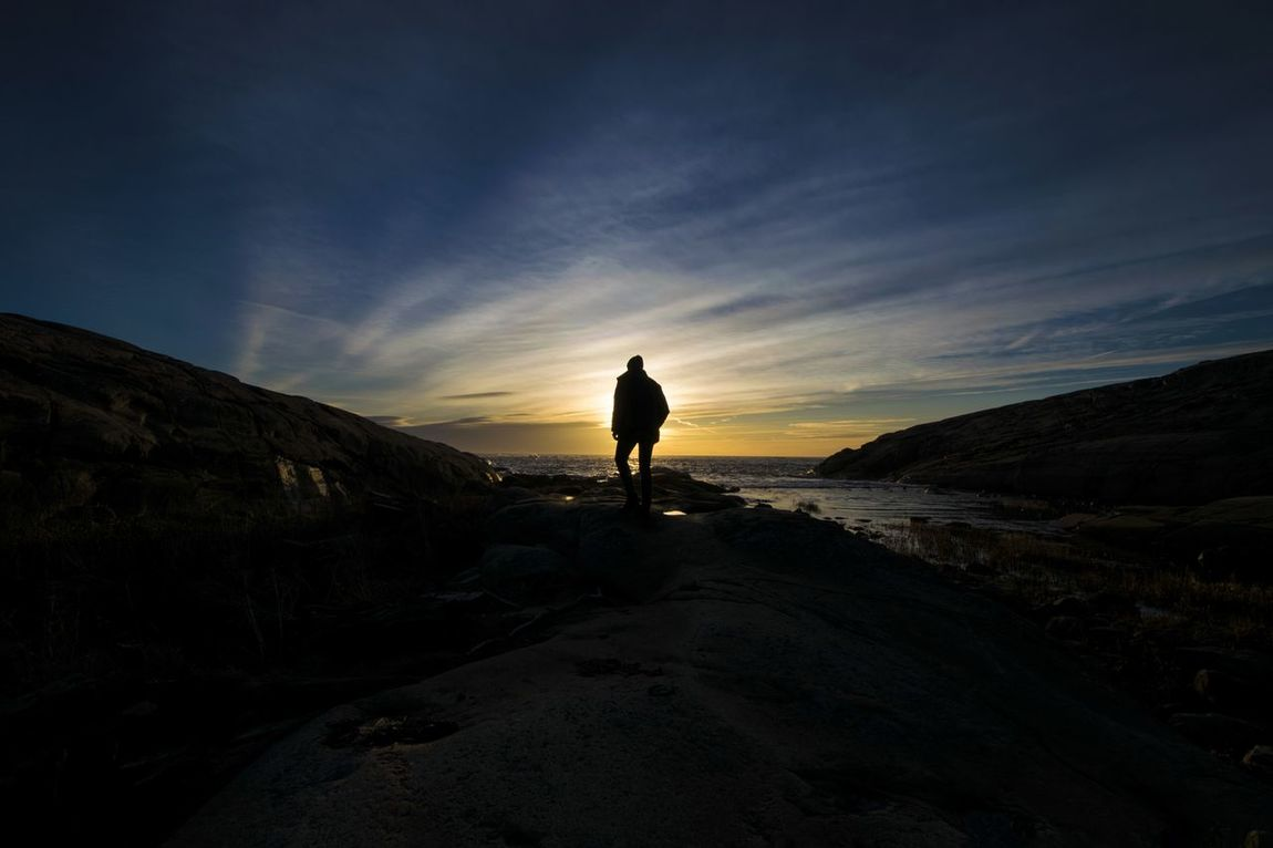 One Person Full Length Travel Hiking Landscape Vacations Adventure Tourist Beauty In Nature Nature Travel Destinations Cloud - Sky Tourism Sunset People Outdoors Sun Norway🇳🇴 Nature Photography Norway Nature Silhouette Betterlandscapes Water Hvaler Norway
