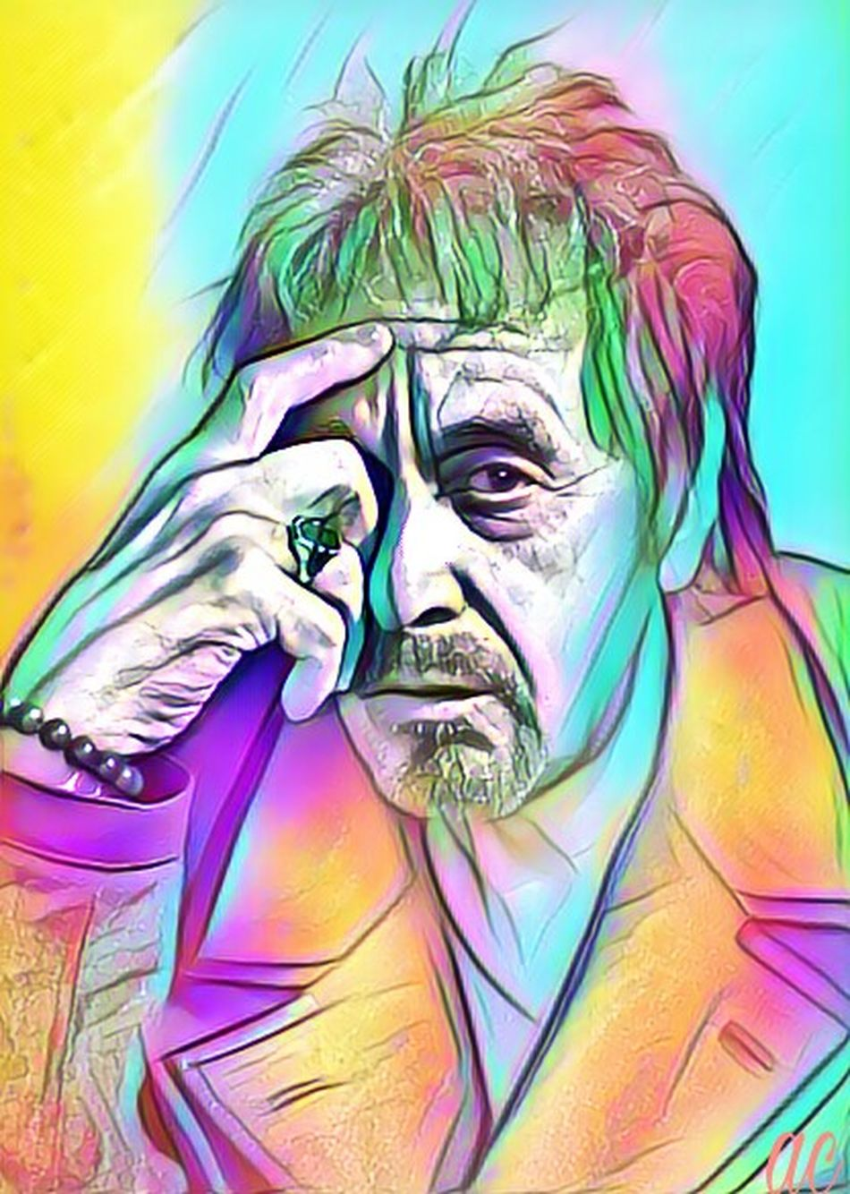 AL PACINO Human Representation Painted Image Vibrant Color Multi Colored Collageoftheday Collageartwork American Actor