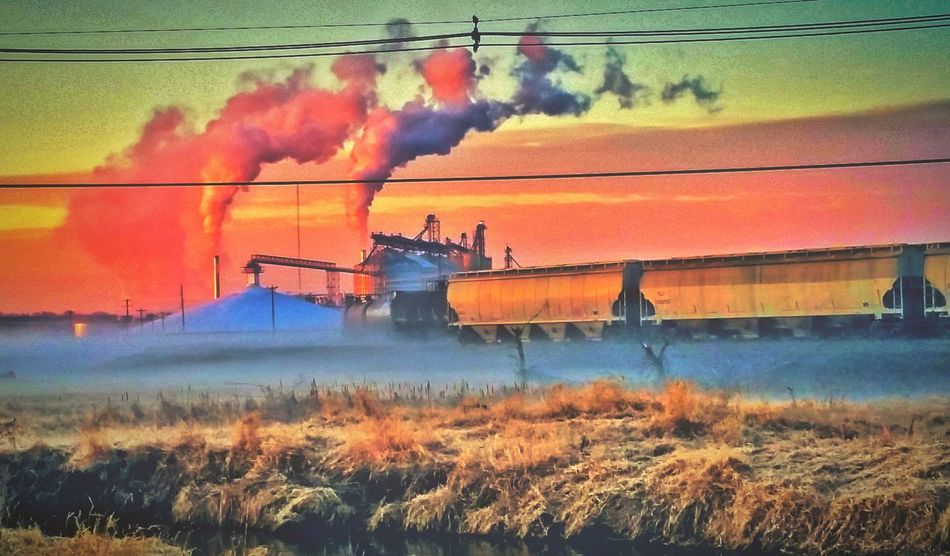 Runaway Dreamscape Train Refinery Fieldscape Fog Foggy Morning Sunrise