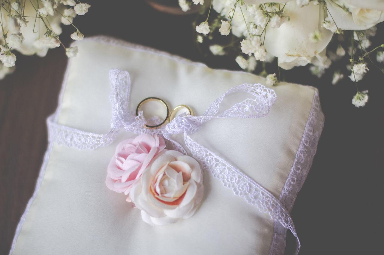 Beauty In Nature Bouquet Bride Bridegroom Celebration Celebration Event Close-up Day Flower Flower Head Fragility Indoors  Jewelry Life Events Love Luxury Married Pink Color Ring Rose - Flower Wedding Wedding Cake Wedding Ceremony Wedding Dress White Color