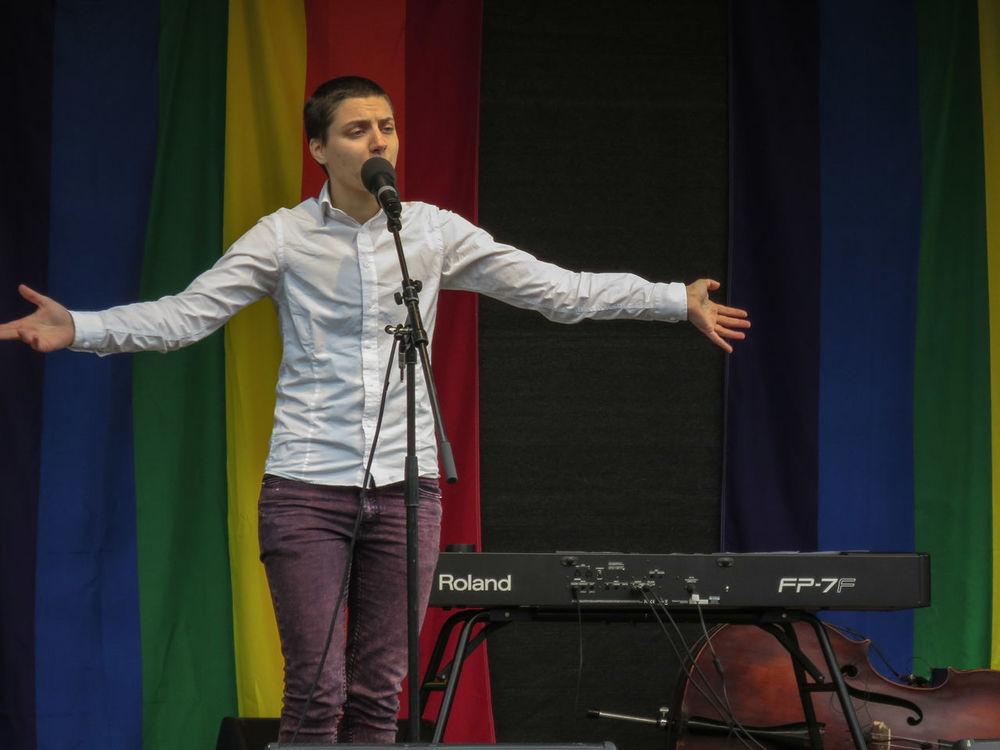 "Opening Pride Festival Qom Ut Poetry, the ""Spoken Word"" genre, by amazing Nino Mick ☺."