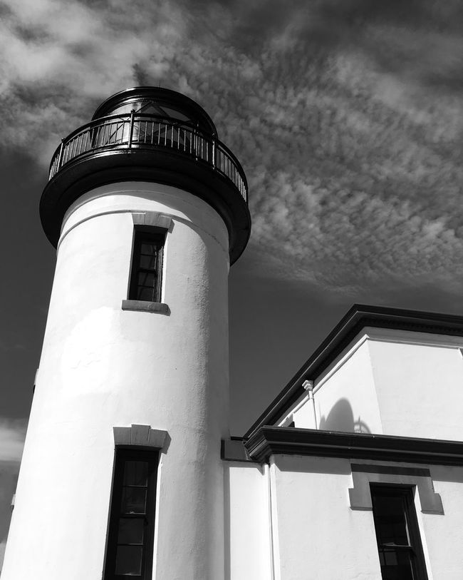 Lighthouse Tower Architecture Building Exterior Tall Architectural Feature Sky No People Fort Casey, WA Looking Up Black And White Historic Building Iphonephotograpny Week On Eye Em Eye Em Best Shots
