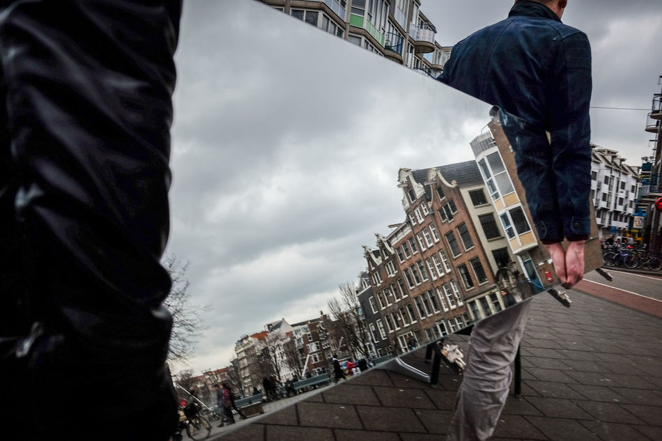 Mirror cityscape @ Amsterdam Amsterdam Architecture Building Exterior Built Structure Candid City City Cloud - Sky Day Holland Low Angle View Men Mirror Netherlands Only Men Outdoors People Reflection Sky Sky And Clouds Streetcandid Streetphotography Travel Destinations Urban