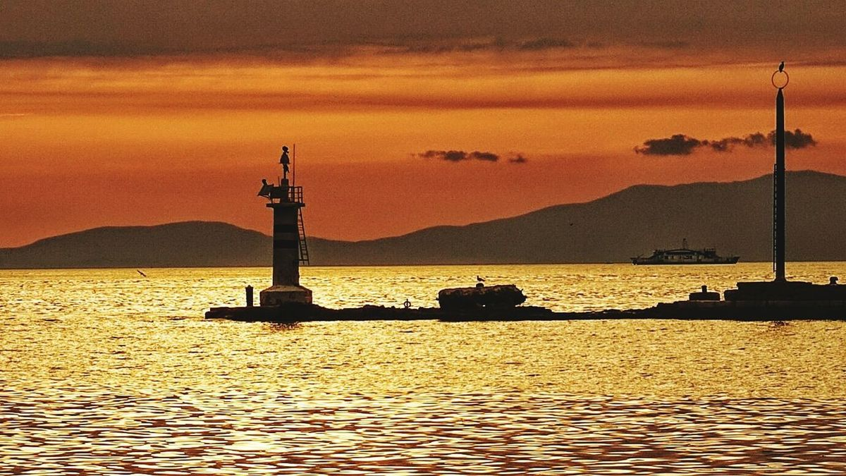 Sunset Silhouette Water No People Sea Sky Lighthouse Tranquility Izmir ❤ Water Reflections Ciao A Tutti