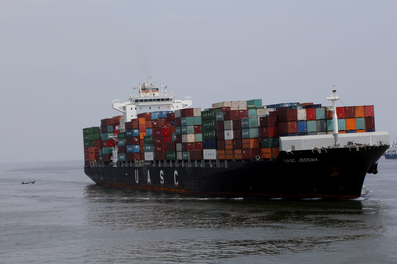 Business Business Finance And Industry Cargo Container Commercial Dock Container Container Ship Day Distribution Warehouse Freight Transportation Industry Nautical Vessel No People Outdoors Sea Shipping  Sky Trading Transportation Warehouse Water