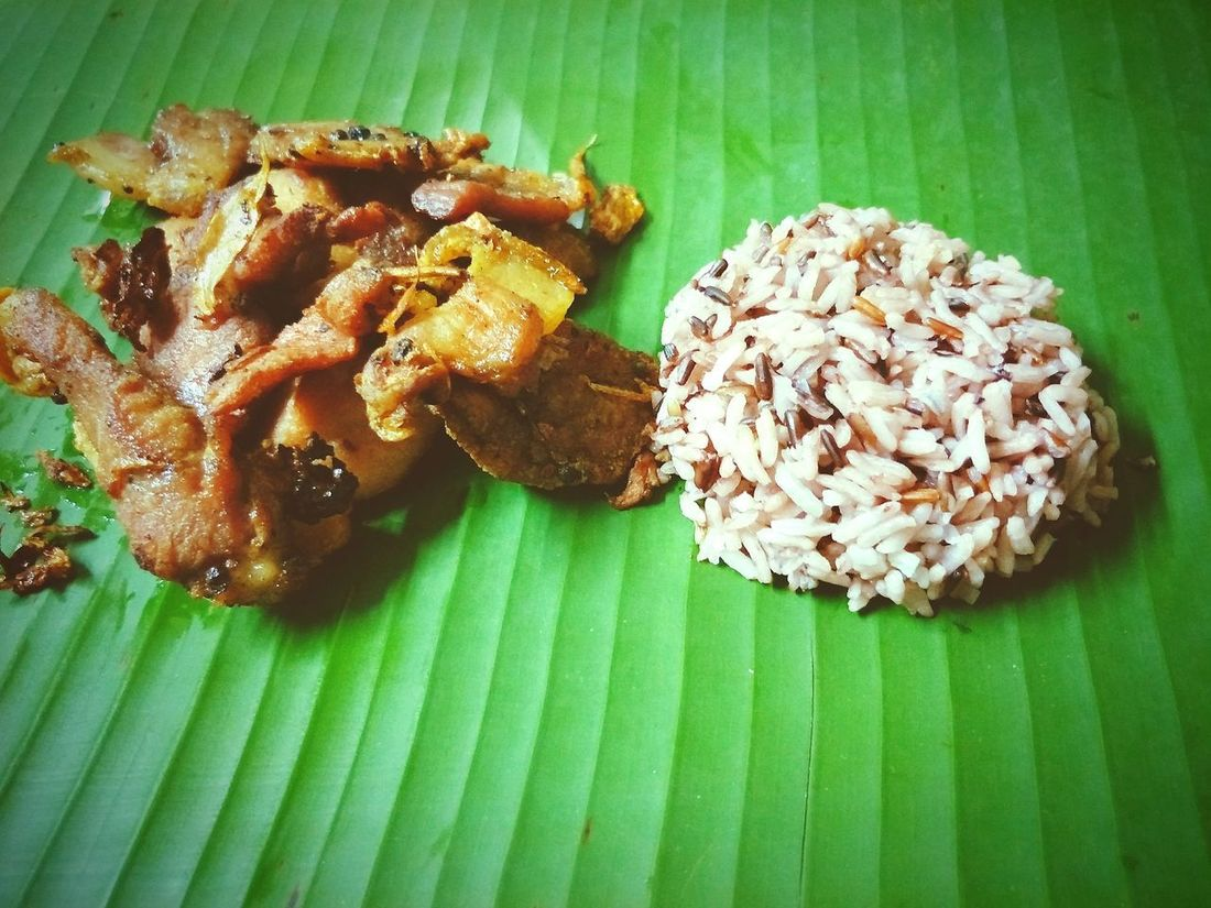 Fried dried pork with rice ready to eat Backgrounds Aisan Eyes EyeEm Friedpork Rice Color Rice Purple Rice Traditional Food Nature Dried And Fried Pork Organic Foods GAP Rice