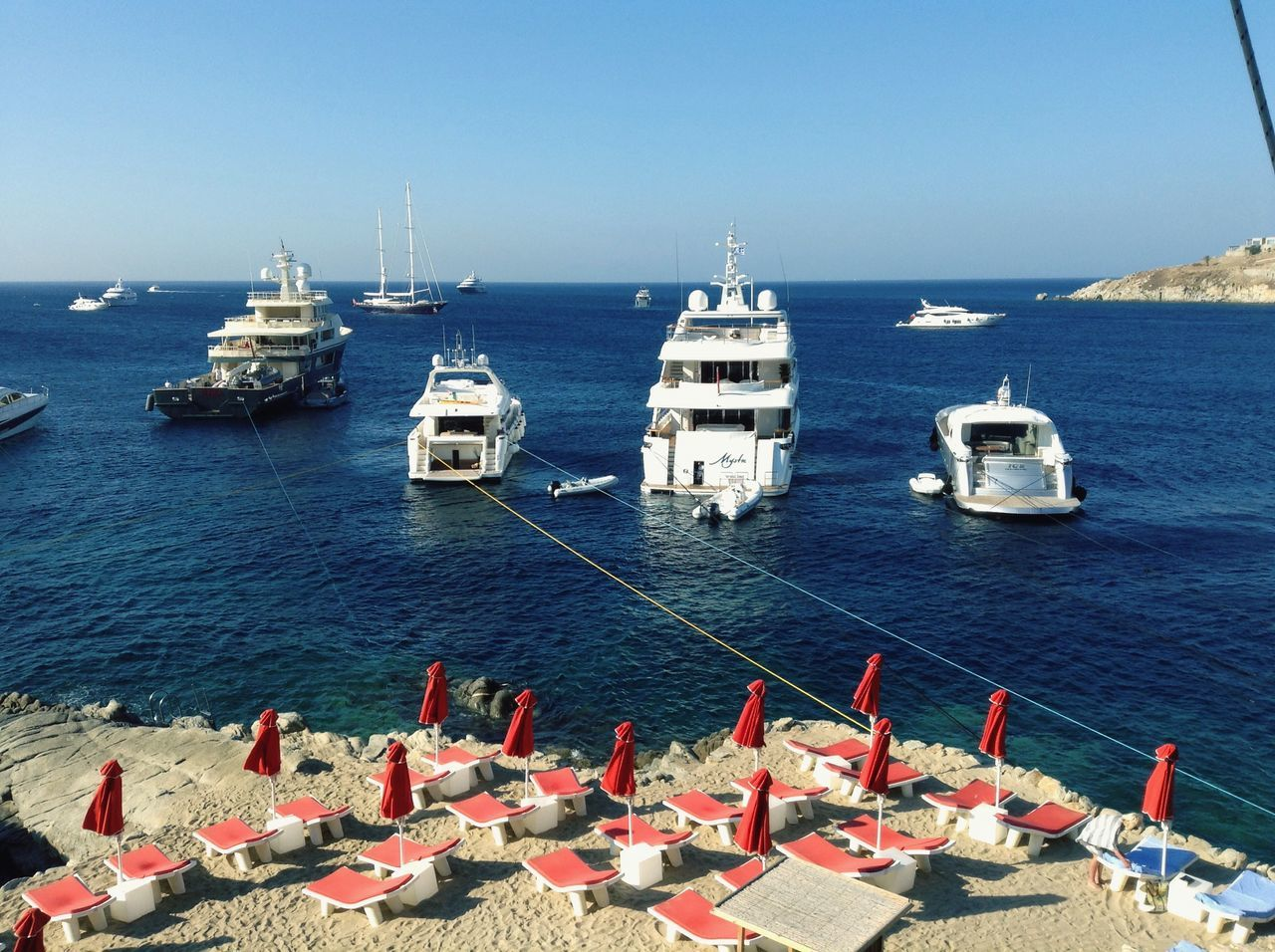 Summer Summer2015 Mykonos Yachts Yachtlife Beach Sunchair Sand Greece Island Sea Bluesea