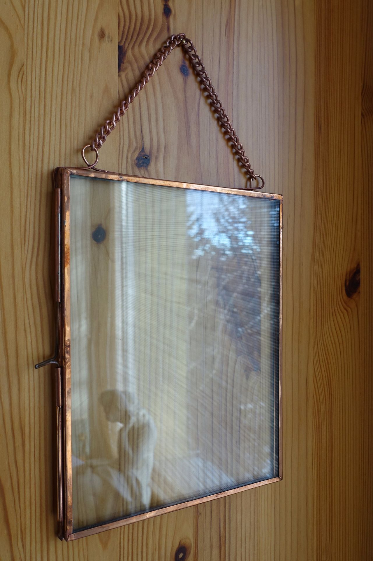 Picture Frame Empty Wood Wood - Material Copper  Glass - Material Reflection Window Indoors  Hanging Around