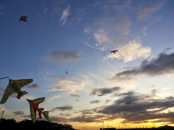 Kites against a backdrop of a Colorful Sky And Clouds at Dusk . To me this represents being a Free Spirit and a Dreamer .