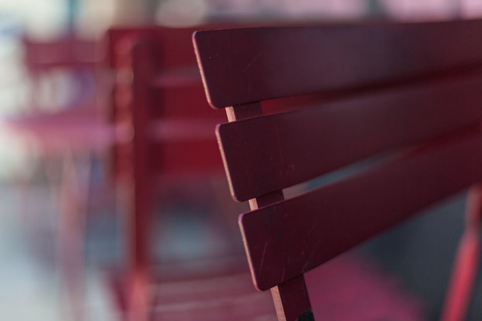 Red table and chairs Cafe Chairs Close-up Day Extreme Close-up Glow Metal Tables No People Patio Red Chairs Red Tables Refelction  Shaded Shallow Depth Of Field Tables Windows