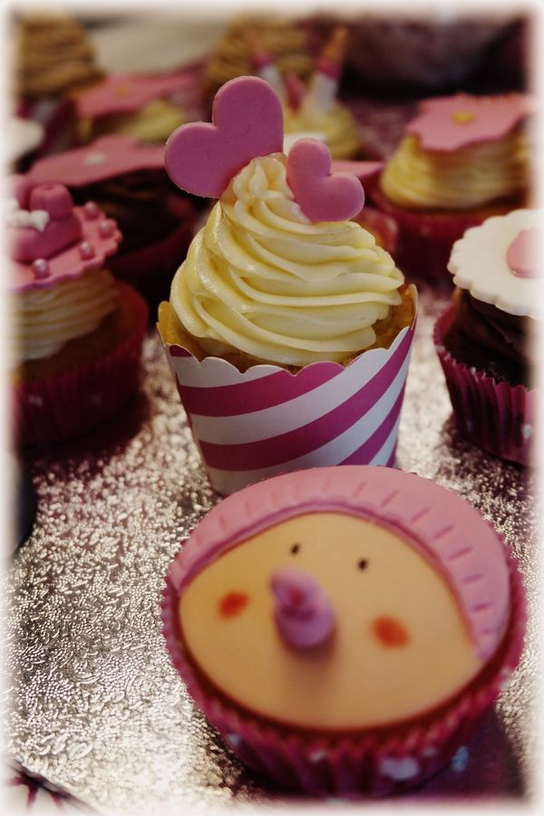 Hearts Love Sweet Girl Pink Tortenpost Cupcakes Babyparty Chocolate Baby