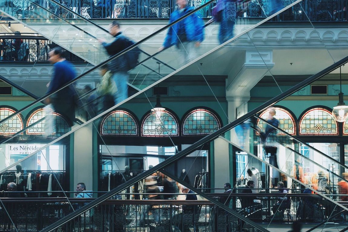 Pivotal Ideas What's On The Roll Travel Travel Photography Geometry EyeEm Best Shots Opposites Movement Blurred Motion QVB Sydney Australia Queen Victoria Building Tones Cold Motion