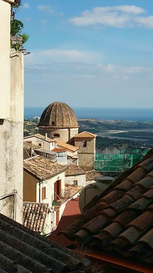 LadyphotographerofthemonthSouth Of Italy Calabria (Italy) Stilo Ancient Architecture Dome Old Buildings Learn & Shoot: Leading Lines Learn & Shoot: Layering Above The Roof View From Above Roof Tiles Scenic Lookout Scenic View Sea And Sky Ancient Beauty a Ancient Village Mountain Village