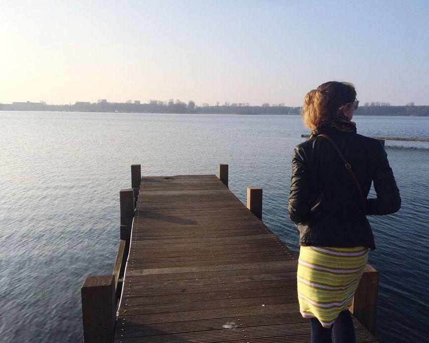 Watter Lake Rotterdam Dutch Landscape Europe Traveling Netherlands Nature Spring Deck Lifestyles Girl Skirt Leather Jacket