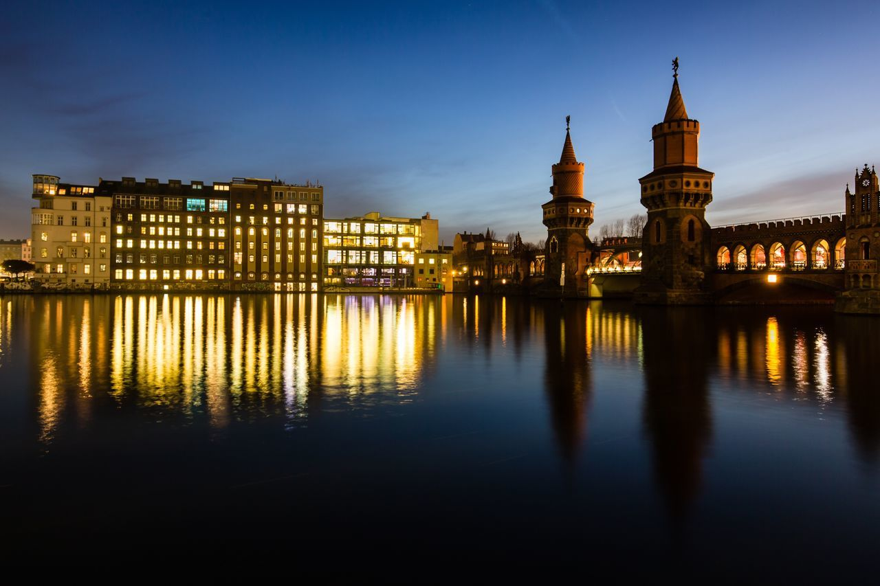 Blue Hour | via my DSLR in front of Oberbaumbrücke in Berlin Architecture Built Structure Reflection Building Exterior Illuminated Sky Waterfront Water City Night No People Travel Destinations River Outdoors Cityscape Nature (null)Capture Berlin Architecture Nightphotography Night Lights Berlin Traveling Tranquility Bridge Fresh On Market 2016