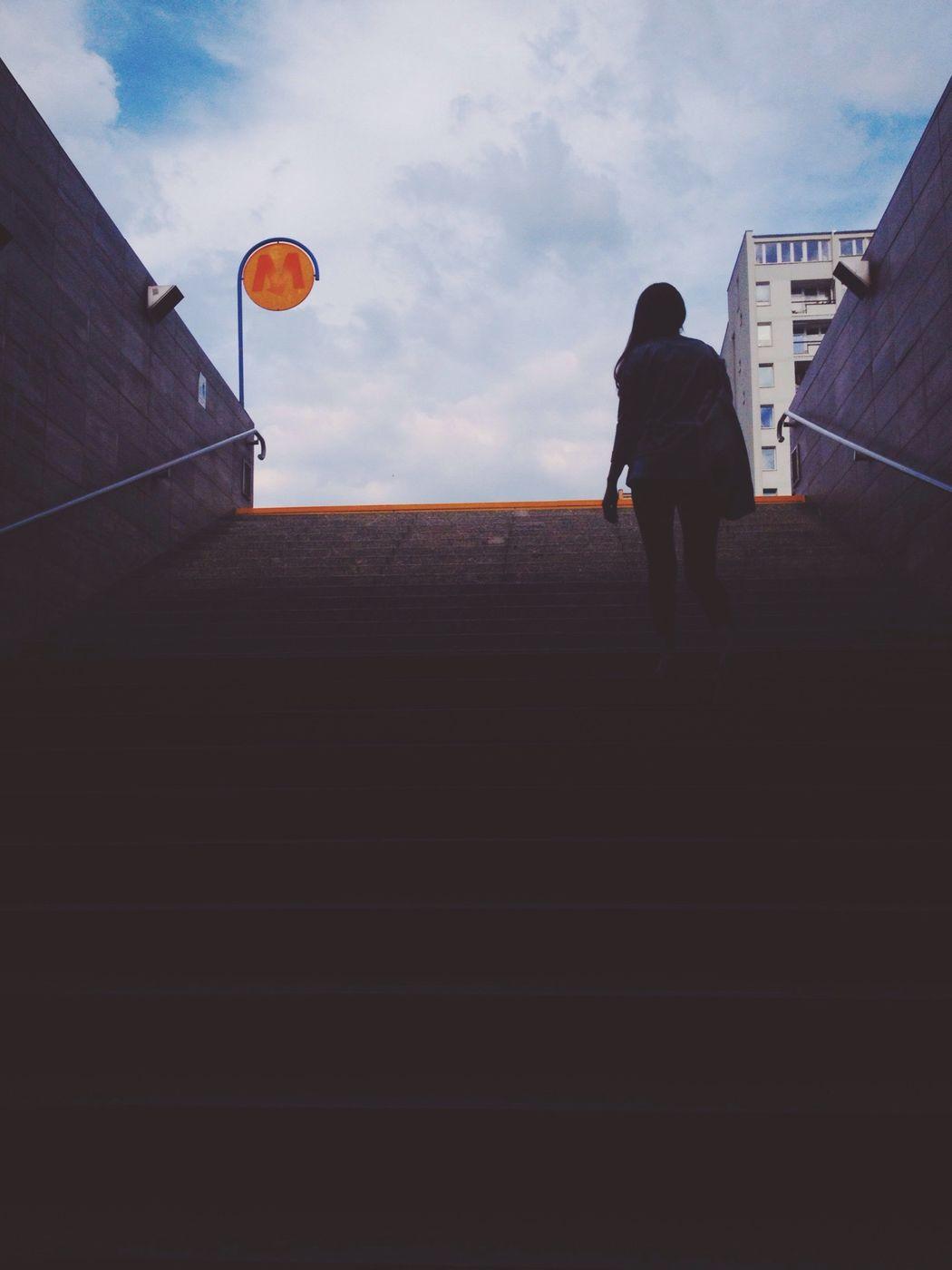 Walking Stairs Girl Subway