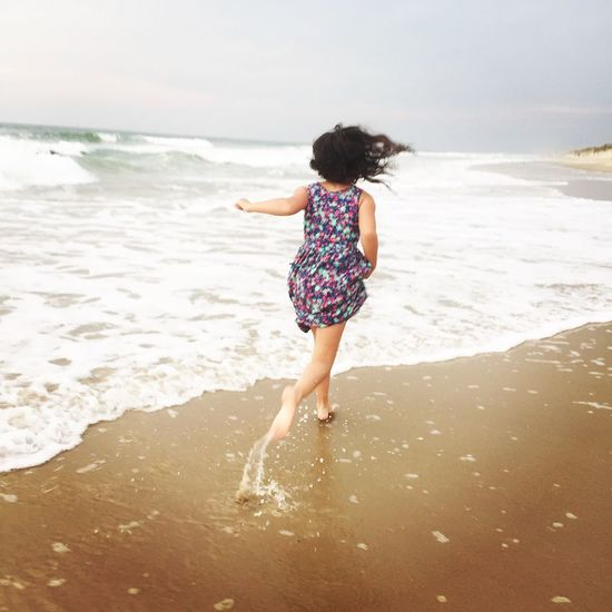 Girl running on the beach Outer Banks, NC Beachphotography Fun Alone ExploreEverything Waves, Ocean, Nature Vacation Isolated Original Experiences 43GoldenMoments Beautiful Nature Golden Hour Girl Playing 43golden Moment Long Goodbye