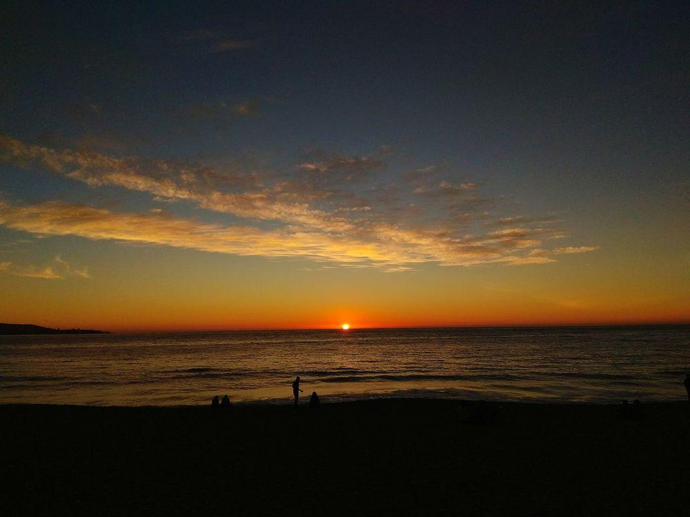 Beach Sunset Horizon Over Water Sand Tranquility Silhouette Vacations Landscape Viña Del Mar recorriendo by Santiagoapie