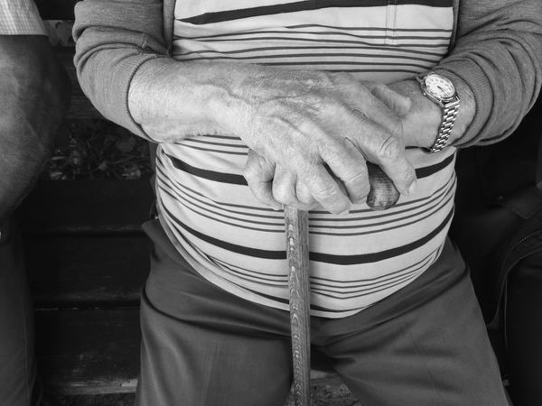 old man on the bench Age Aged Casual Clothing Disabled Focus On Foreground Front View Hands Holding Human Finger Human Skin Lifestyles Man Men Mid Section Midsection Old Pensioner Person Senior Sitting Stick